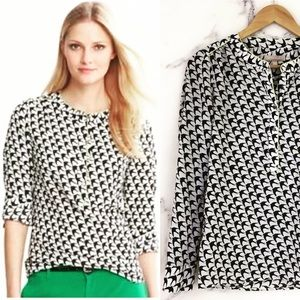 Banana Republic Bird Print Blouse with Lime Piping